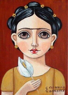 "Original & Mexican Folk Art. ""FRIDA KAHLO WITH CALLA LILY"". 5""x7"" Canvas"