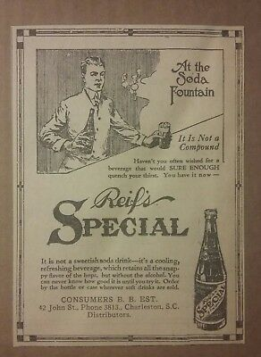 1917 Reifs Special Soda Ad Beverage Pop Charleston, SC