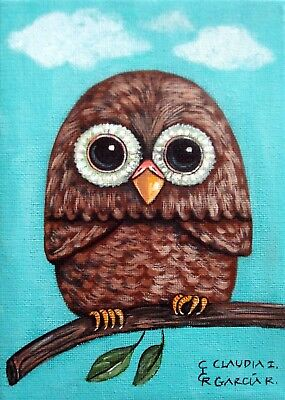"Original & Mexican Folk Art. ""LITTLE OWL"".  5""x7"" Stretched Canvas"