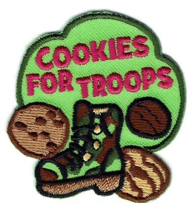 Girl Boy donation COOKIES FOR TROOPS cookie Fun Patches Crest Badge SCOUTS GUIDE