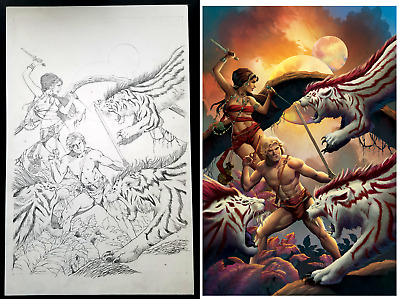 Edgar Rice Burroughs' CARSON OF VENUS- Original Pencil Cover Art by Mike Wolfer!