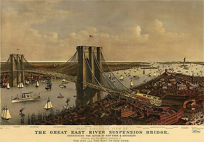 12x18 inch Reprint of Map 1885 Great East River Suspension Bridge Brooklyn Bay