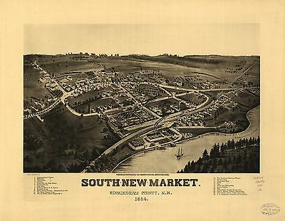 12x18 inch Reprint of American Cities Towns States Map South New Market Nh