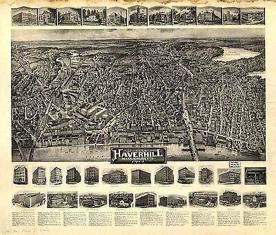 12x18 inch Reprint of American Cities Towns States Map Haverhiill Mass