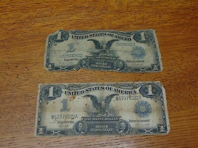 Lot of 2 ~ $1 One Dollar Black Eagle ~Silver Certificate~ Large Size Bill ~