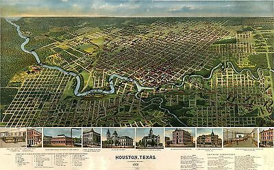 12x18 inch Reprint of Old Maps 1891 Houston Texas In Its Infancy Map