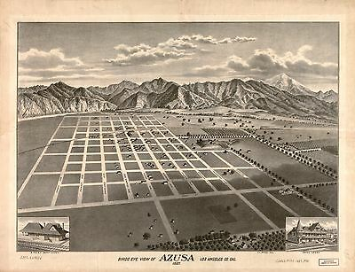 12x18 inch Reprint of  USA Cities Towns States Map Azusa Los Angeles California
