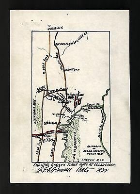 12x18 inch Reprint of American Military Map Earlys Flank Move Cedar Creek