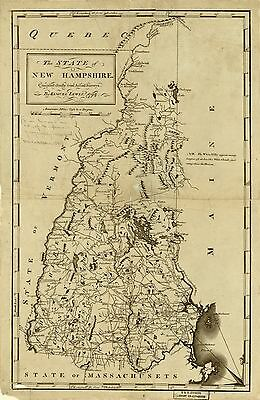 12x18 inch Reprint of American Cities Towns States Map New Hampshire
