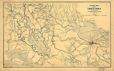 12x18 inch Reprint of American Military Map Louisiana