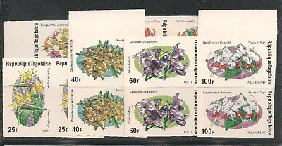 Togo #894-897 / C242-C243 VF MNH IMPERF PAIRS - 1975 25fr to 200fr Flowers