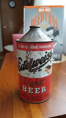 """EDELWEISS"" Light 32oz Cone Top Beer Can. CHICAGO ILLINOIS"