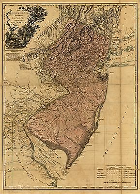 12x18 inch Reprint of American Cities Towns States Map New Jersey