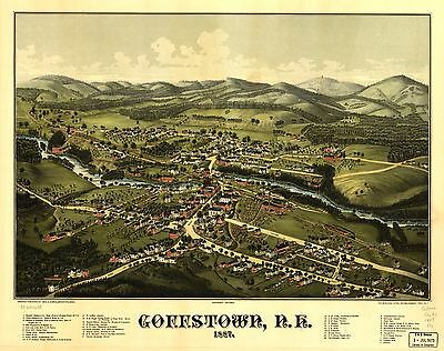 12x18 inch Reprint of American Cities Towns States Map Goffstown Nh