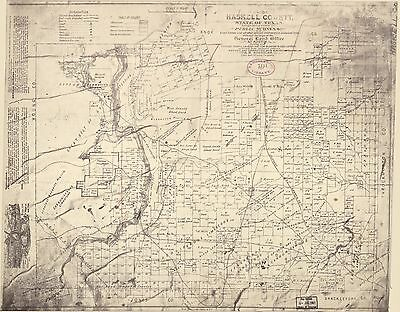 12x18 inch Reprint of American Cities Towns States Map Haskell County Texas