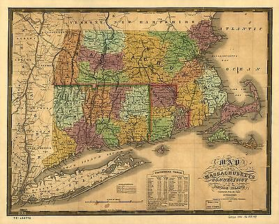 12x18 inch Reprint of American Railroad Map New England