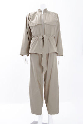 GANNI Phillip Beige Tanned Belted Cotton Twill Wide Leg Pants Jacket Set 2/34