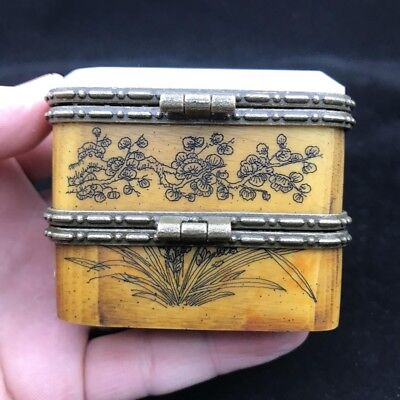 Chinese ancient bone products jewelry box inlaid with jade hand-painted patterns