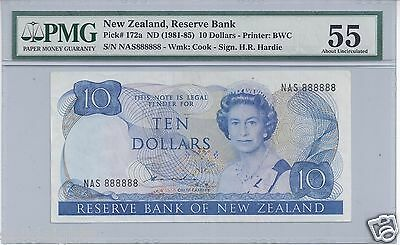 $10 TEN DOLLARS RESERVE BANK OF NEW ZEALAND # 888888 PMG-55 SOLID 8's SERIAL