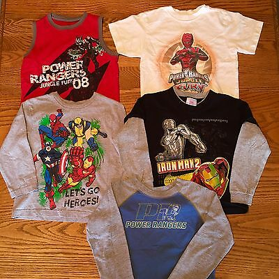 5- Pc Boys T-SHIRTS Size 5/6 Power Rangers IRON MAN LOT