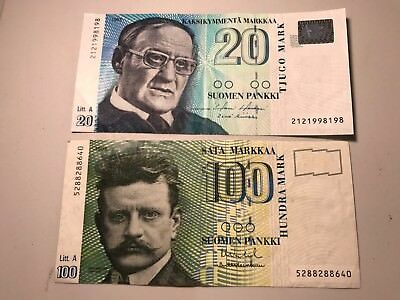 Finland 100 and 20 Mark world foreign paper money Excellent Crispy condition