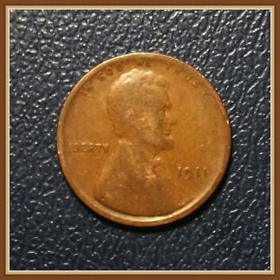 "1911P Lincoln Wheat Cents Vintage Old Coin Below Good Grades ""Stock Photo"""