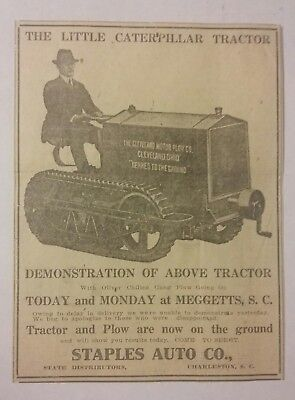 1917 Little Caterpillar Tractor Ad Cleveland Motor Plow Co Cleveland, Ohio