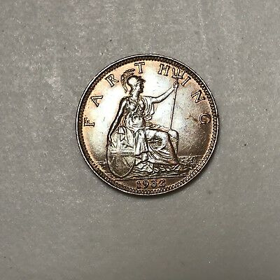 1932 Great Britain Farthing world foreign coin Excellent luster condition