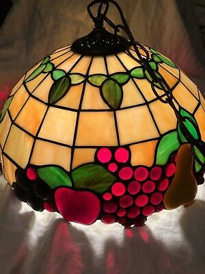 """FRUIT Hanging Lamp Shade Stained Glass (16"""") Ceiling Light w/ Chain"""