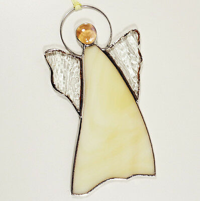 Stained Glass Angel Suncatcher Ornament Cream Color 5.9 Inch Tall