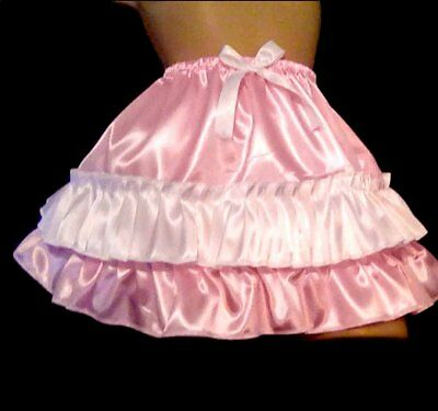 Adult Sissy Satin Ruffled Slip Skirt Dress Up Cd  Powder Pink & White