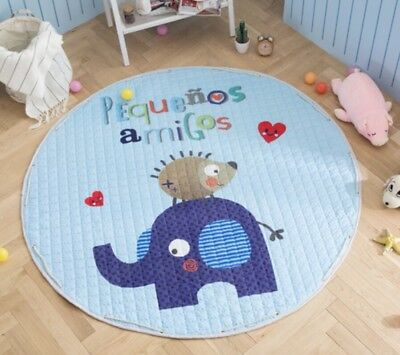 Baby Round Carpet 150cm Playing Mat Floor Crawling Pad Rug Kids A Blue Amigos