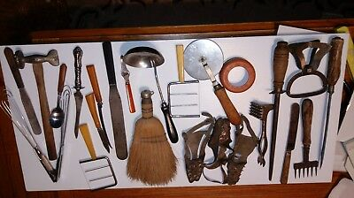 24 pieces some Rare Antique Vintage Kitchen Utensil Lot  Wood @ cast iron Handle