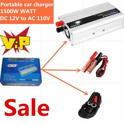 DC 12V to AC 110V Portable Car Power Inverter Charger Converter 1500W WATT US BT