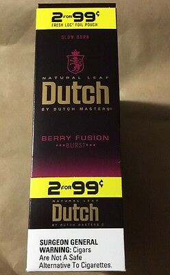 Dutch masters berry fusion burst . 2 premium cigarillos Box Of 30 CIGARS