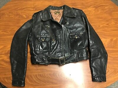 Women Vintage 50's Black Front Quarter Steerhide Leather Motorcycle Jacket S/m