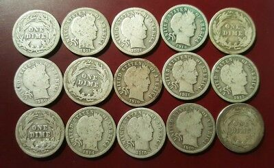 Barber Dime Lot: Mixed Dates, good/better 15 dimes, 90% silver, constitutional