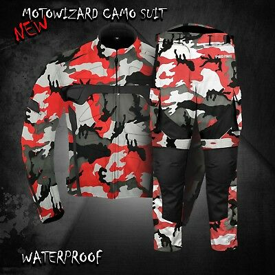 Waterproof Motorbike Camo Jacket Trouser Pant Motorcycle Textile Racing Suit New