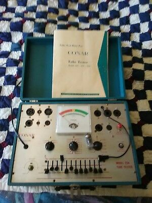Vintage Conar #224 Tube Tester, with manual , and still works. Very good shape.