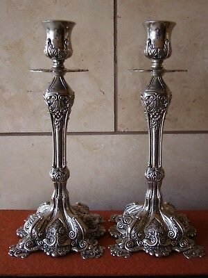 """Pair Of Decorative Metal Victorian Style Ornate Candle Holders 11 3/8""""Tall"""