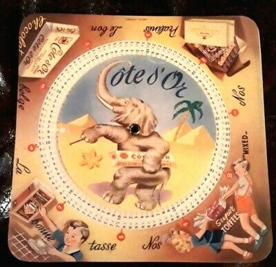 """Great vntage French advertising """"COTE d'Or """" chocolate,calculation disc, signed"""