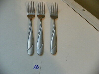 Set Of 3  Hampton  Swirl Glossy / Satin Finish  Salad Forks Stainless Flatware