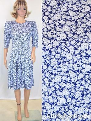 VTG 80s Blue White Ditsy Floral Sweetheart Jersey Knit Indie Secretary Dress M