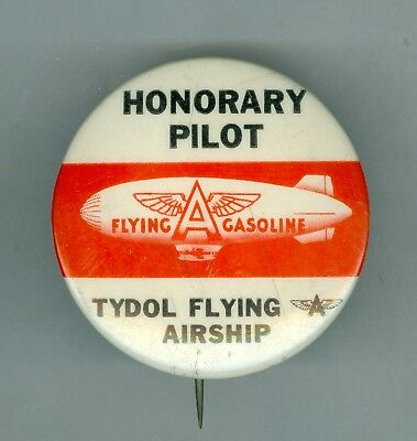 "Vintage Tydol Flying ""A"" Gasoline Airship Honorary Pilot Pinback, 1 ¾ inches"