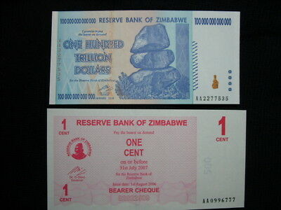 Genuine Zimbabwe 100 TRILLION Dollar Note with a 1c Note- MINT-Serial Numbers AA