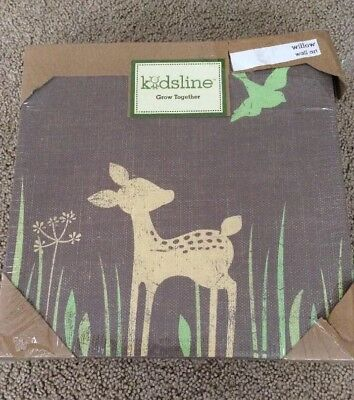 New Kidsline Willow 2 Piece Organic Canvas Wall Art Two Fawns Deer & Baby Decor