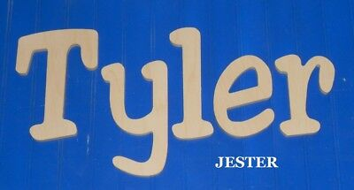 """Unpainted Wooden Wall Letters 8"""" size Home Decor Kids Room Baby Nursery Jester"""