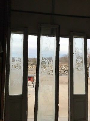Amazing Etched Three-Piece Double Door Transom Entry Set Antique glass