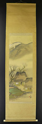 JAPANESE HANGING SCROLL ART Painting Scenery Asian antique  #E1265