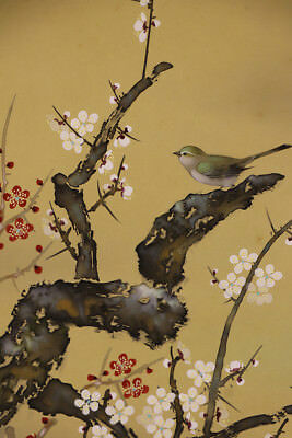 """JAPANESE HANGING SCROLL ART Painting """"Bird and Flowers"""" Asian antique  #E1259"""